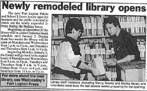News article clipping of the 1993 expansion of library